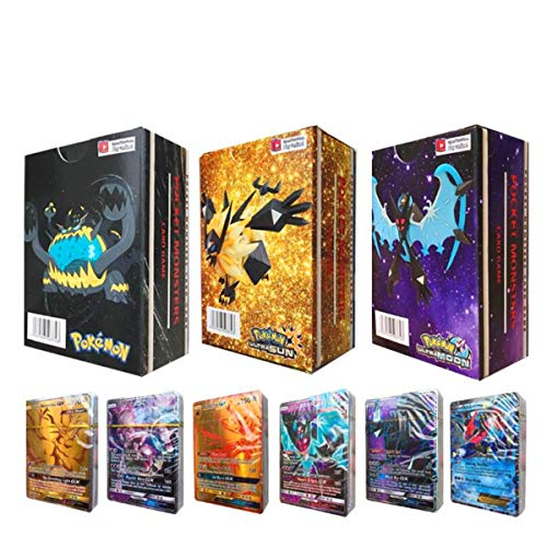 ESOOR 300 Pokemon Cartes Pokemon GX Mega Cartes Cartes Flash Cartes à Collectionner Cartes à Jouer Puzzle Fun Card Card (295 GX + 5 Mega)