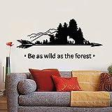 Las calcomanías de pared son tan salvajes como las frases del bosque, árboles del bosque, naturaleza, zorro salvaje, flechas, pegatinas de vinilo para ventanas, sala de estar, decoración del hogar