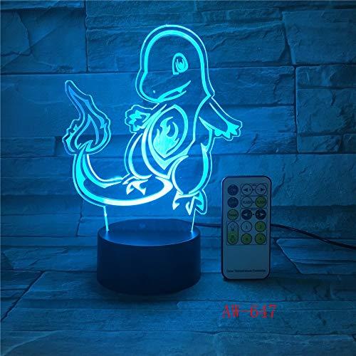 3D Nachtlichter, Actionfigur 3D Rgb Lamp Turtle Vogel Feuer Dragon Bay Geschenk Nachtlicht Aw-647 7 Farben Aw-647, Fernbedienung