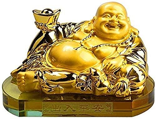 WQQLQX Statue Skulptur Harz Maitreya figürine Zen Statue lachen Buddha viel glück Low freealth Freude Auto Ornamente Office Dekoration Skulpturen