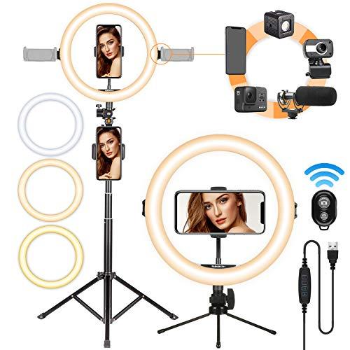 TARION Anello luminoso a luce led ring light con supporto per luce Kit di luci ad anello per selfie a LED da 11'per videografia in streaming dal vivo