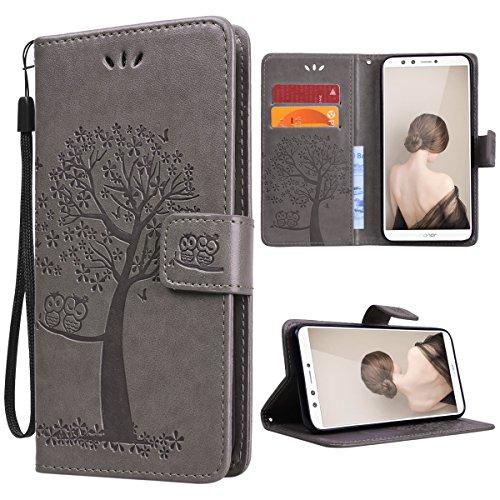 VemMore kompatibel mit Huawei Honor 9 Lite Hülle Handyhülle Schutzhülle Leder PU Wallet Flip Hülle Bumper Lederhülle Ledertasche Muster Klapphülle Klappbar Magnetisch Dünn Silikon Baum Eule - Grau