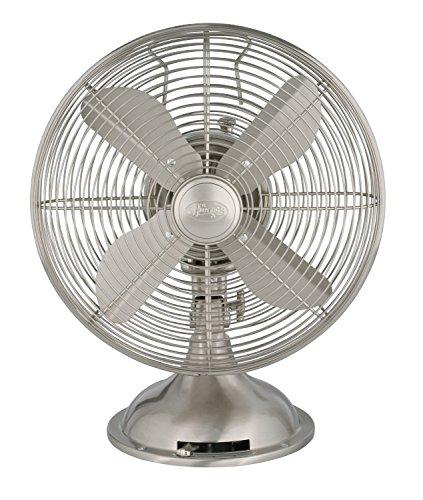 "HUNTER 90400 Retro Table Fan, 12"", Brushed Nickel"