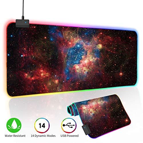 O\'woda Tappetino Mouse Gaming RGB,Grande Taglia[ 800x300 mm ],Cielo Stellato,14 RGB Effetti,Impermeabile,Base in Gomma Antiscivolo e Superficie Liscio,Mouse Pad per Computer, PC e Laptop