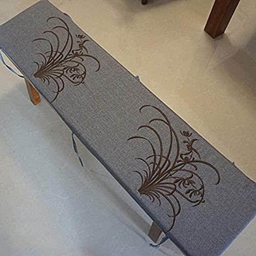YNSH Lange Bank-Kissenauflage, Indoor-Outdoor-Holzstuhlauflage mit Befestigungsbändern, abnehmbare waschbare weiche Sitzmatte, Rutschfester Gartensitz