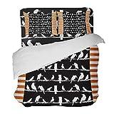 SUPERQIAO Pájaros Siluetas de Animales Rayas Naranjas y Blancas 3 Piezas Juego de Funda nórdica con 2 Fundas de Almohada Decorativas Colcha Sábanas