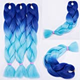 Haarverlängerung 60cm Crochet Braids Two Tone Ombre Braiding Haar Synthetik Braid 5 Pcs/500g Dunkelblau bis hellblau