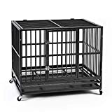 Ainfox 37' Heavy Duty Metal Dog Crate, Double Door Folding Strong Dog...