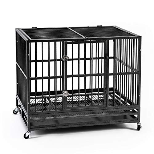 Ainfox 37' Heavy Duty Metal Dog Crate, Double Door Folding Strong Dog Pet Kennel Cage with Tray, Intermediate Dog Breed, Black