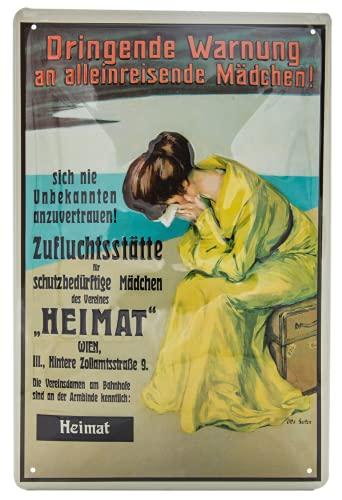 Cartel de chapa con texto en alemán 'Heimat Verein Wien, Warnnung an alle Mädchen Estación de ferrocarril, retro, 30 x 20 cm