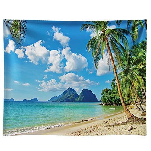 Funnytree 10x8ft Durable Fabric Summer Tropical Beach Backdrop No Wrinkles Seaside Island Palm Trees Photography Background Blue Sea Sky Luau Themed Party Decorations Photo Booth Studio Props
