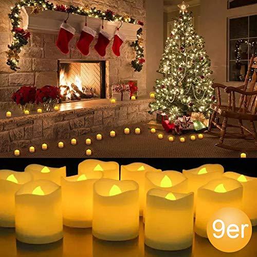 Yaobluesea LED-kaarsen theelicht kaars vlamloos met afstandsbediening batterijen kaars LED kaars met timer afstandsbediening batterijen voor kerstdecoratie bruiloft verjaardag party melkkig