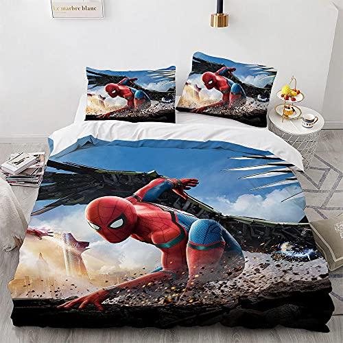 Linge De Lit 3 Pièces Housses De Couettes Spiderman 200X200 Cm Microfibre House De Couette 200 X 200 avec Fermeture Éclair avec 2 Taies d'oreiller 65X65Cm
