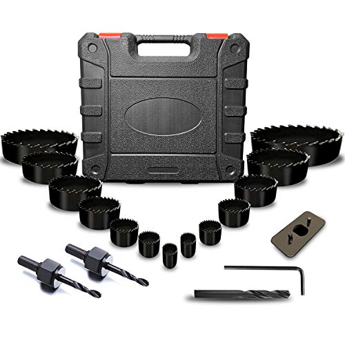 "ARTIPOLY Hole Saw Kit 20 Pcs Hole Saw Set with 13Pcs Saw Blades, 2 Mandrels and 2 Drill Bits, 2 Installation Plate, 1 Hex Key, Min Size 3/4"" and Max Size 6"", Good for Soft Wood, PVC, Plywood, Drywall"