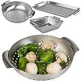 Smart Planet® - Set di 3 cestini per barbecue in acciaio inox, per barbecue, barbecue, barbecue, verdure, carne, cestini per barbecue a gas e barbecue a carbonella