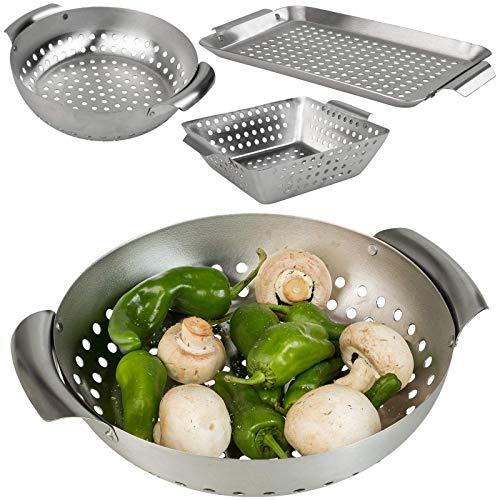 Smart Planet® Grillkorb 3er Set Edelstahl - Grillschalen - BBQ Schalen - Barbecue Gemüsekorb Fleischkorb - Körbe für Gasgrill Holzkohlegrill Grill