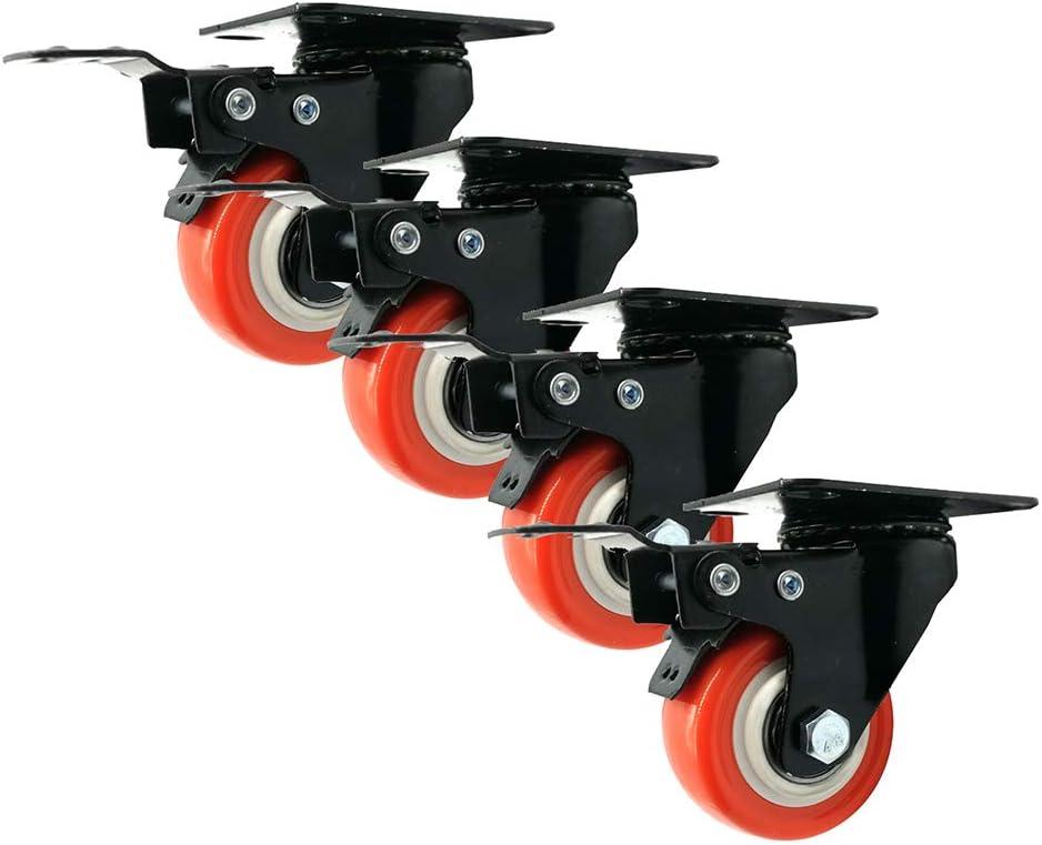 PU-Ruota con Freno Doppi Cuscinetto,silenziose,Set di 4,Arancione,1,5pollici//2pollici Caster Wheels Ruote Girevoli Sostituzione Rotelle per Mobili