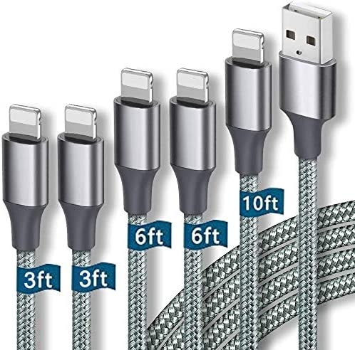 Onpro iPhone Charger MFi Certified Lightning Cable 5 Pack 3 3 6 6 10FT Nylon Woven with Metal product image