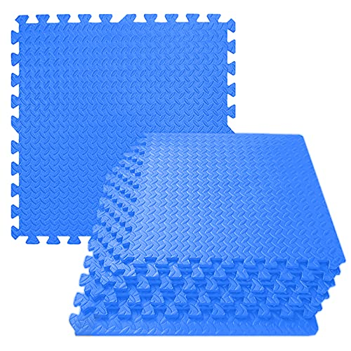 Alfombras de Puzzle ejercicios, 30 x 30 cm Alfombra azul para suelo de gimnasio, Alfombra de goma EVA Puzzle entrelazados antideslizante para entrenamiento casa Equipo ejercicio yoga Garaje,48pcs