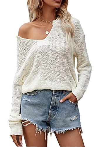 ZIYYOOHY Damen Strickpullover V Ausschnitt Langarmshirts Pullover Sweatshirt Schulterfrei Lose Casual Oberteil Tops Sweater Pulli (019 Weiß, XL)