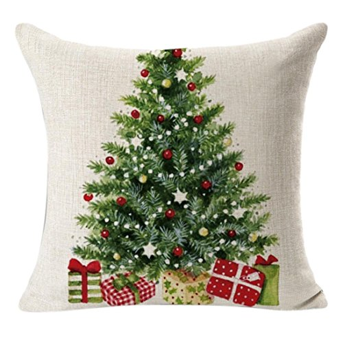 45cm*45cm + federe, Kingko Christmas Linen Square throw Flax Pillow case cuscino decorativo copertura del cuscino
