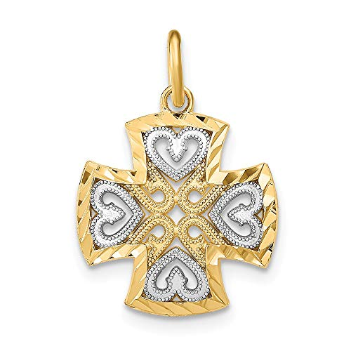 14k Yellow Gold Hearts Maltese Cross Religious Pendant Charm Necklace Fancy Fine Jewellery For Women Gifts For Her