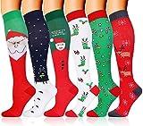 6 Pairs Compression Socks for Men Women Christmas Socks 20-30 mmHg Knee High Stockings