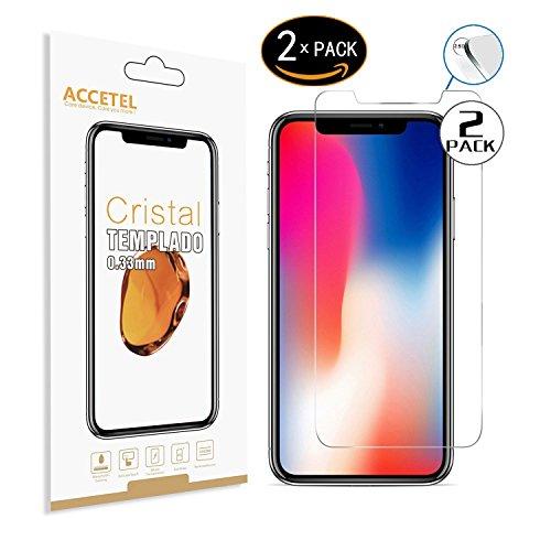 RE3O Protector de Pantalla Compatible con Apple iPhone X iPhone XS Protector Cristal Vidrio Templado para Apple iPhone X iPhone XS 5.8'' Pulgadas Transparente 2-Pack