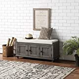 Homes Collection Wood Storage Bench, Entryway Bench with 2 Storage Cabinets and Comfortable Cushion, Entry Bench for Entryway, Living Room and Bedroom, Simply Assembly (Grey)