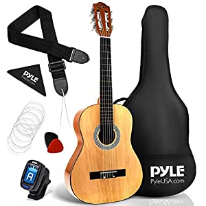 "Pyle Beginner 36"" Classical Acoustic Guitar-3/4 Junior Size 6 String Linden Wood Guitar w/Gig Bag, Right, Natural (PGACLS82)"