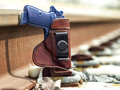 OutBags USA LS3PPK (BROWN-RIGHT) Full Grain Heavy Leather IWB Conceal Carry Gun Holster for Walther PPK 380 & PPK/s 22LR. Handcrafted in USA.