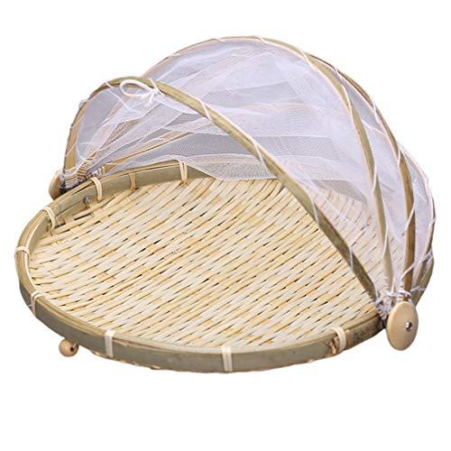 Cabilock 35cm Fliegenhauben Bambus Korb Faltbar Mesh Sieb Weidenkorb Zeltkorb Essen Regenschirm Lebensmittel Abdeckung Zelt Netzabdeckung für Zuhause Draußen Picknicks Khaki