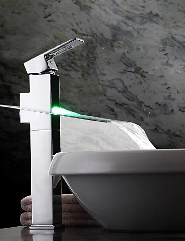 Farbwechsel LED Wasserfall Waschbecken Wasserhahn (gro)