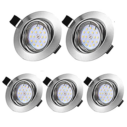 Foco Empotrable Led Gu10, 5 × 5W LED Luz de Techo Blanco Cálido 3000K 500LM IP44,Iluminación para baño, Cocina, Recibidor, Oficina, Luz de techo rasante, Lámpara de techo para baño