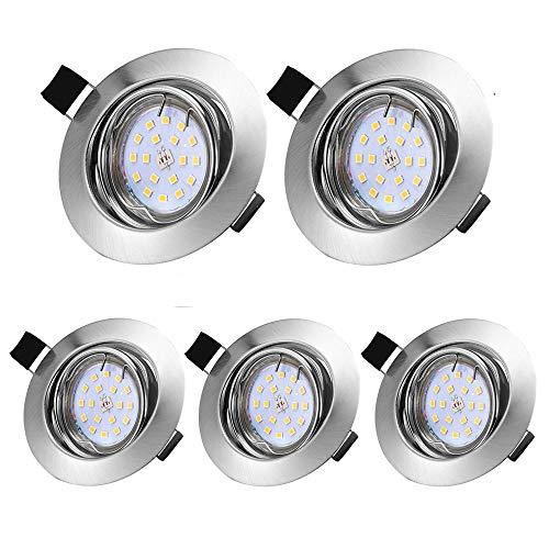 LED Einbaustrahler IP44, 5 x 5W GU10 Modul 230V 500LM 3000K Schwenkbar Badeinbaustrahler Bad Deckenspot Einbauspot Deckeneinbauleuchte Spot Einbauspot (Mit Leuchtmittel)