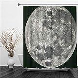 AIMILUX Duschvorhang 180x180cm,Schwarzer Mond Vollmond Aufgenommen am 22. Juni 2013 Kraterastronomie,Duschvorhang Wasserabweisend-Duschvorhangringen 12 Shower Curtain mit