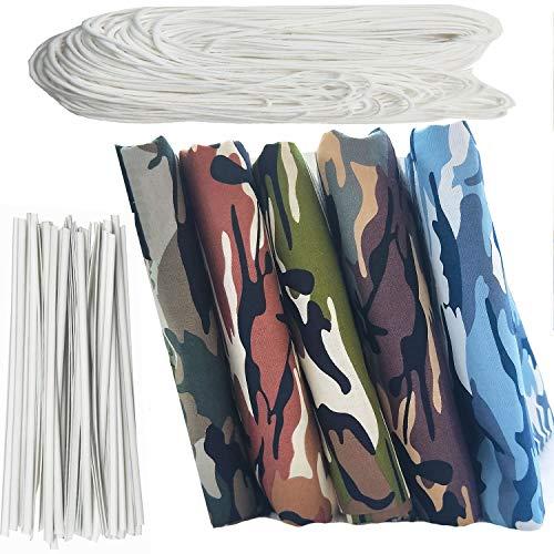 Zaione Patchwork-Stoff, 48 cm x 48 cm, 100 % Baumwolle, Popeline-Stoff, Camouflage-Druck, 10 m elastisches Band + 50 Stück Nasensteg-Streifen