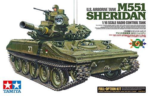 TAMIYA 56043 56043-1 US M551 Sheridan Kit Full Option, Bausatz, Maßstab 1:16, Modellbau, RC Panzer, bebilderte Aufbauanleitung, inkl. Motor, braun