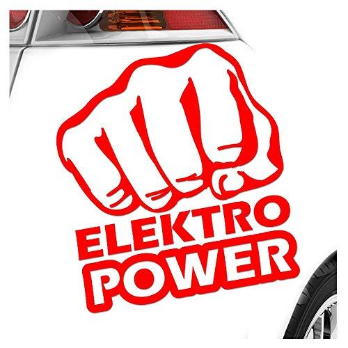 Elektro Power Faust Schlag 10 x 11 cm IN 15 FARBEN - Neon + Chrom! Sticker Aufkleber