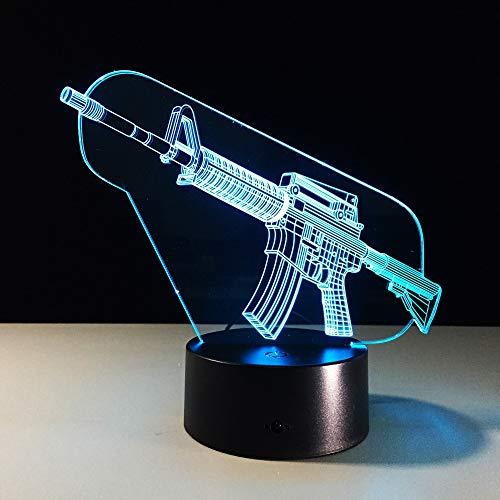 LIkaxyd Luz Nocturna 3D Cool Gun Led Usb Luces Nocturnas Ilusión Lámpara De Mesa Táctil Luces Para La Decoración Del Partido Presentes De Cumpleaños