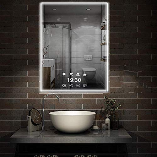 FeelGlad Time Display LED Lighted Bathroom Mirror