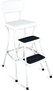 Sturdy Steel Constructed Vintage Style, Retro Counter Chair / Step Stool, White