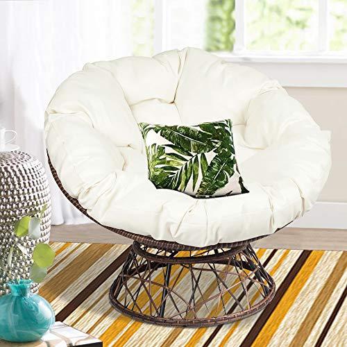 Russ160 Outdoor Papasan Swivel Chair-Dark Brown/Beige