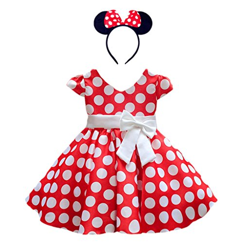 DreamHigh Girls Toddlers Polka Dot Skirt Cap Sleeves Flowers Girl Vintage Bow Dress with Headband Red 6