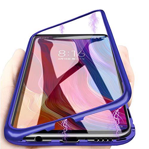 Cover Xiaomi Redmi Note 7,Magnetica Integrata Cover[Cornice Metallica][Coperchio Posteriore in Vetro Temperato] Adsorbimento Magnetico Ultra Sottile Custodia, per Xiaomi Redmi Note 7 Case - Blu