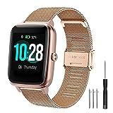 YHC Correa para ID205l Smartwatch de la Serie,Pulsera de Metal Correas Compatible con SW025,SW023,SW021,SW020,TE021,TE020,YM023,YM021,YM020