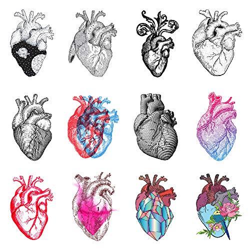 SanerLian Heart Temporary Tattoo Sticker Watercolor Geometry Flowers Waterproof Adult Men Women Arm Chest Back Body Art 10.5X6cm Set of 12