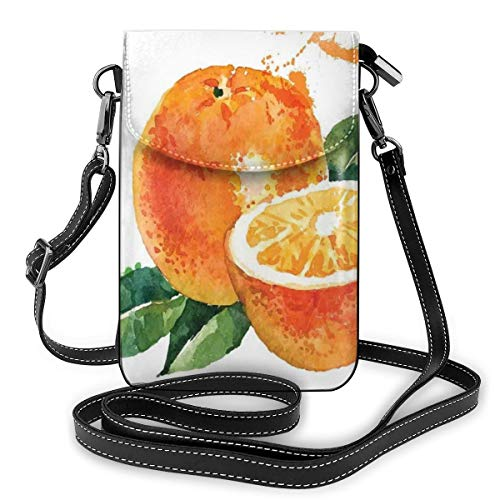Women Mini Purse Crossbody of Cell Phone,Watercolor Stylized Orange Sweet Yummy Kitchen Natural Organic Winter Motif