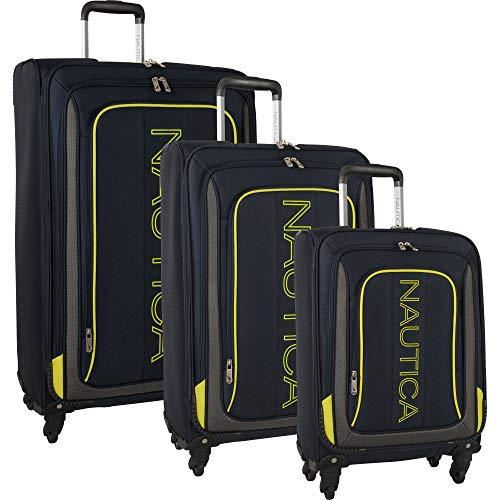 Nautica 3 Piece Luggage Set-Lightweight for Travel, Navy/Blaze Yellow