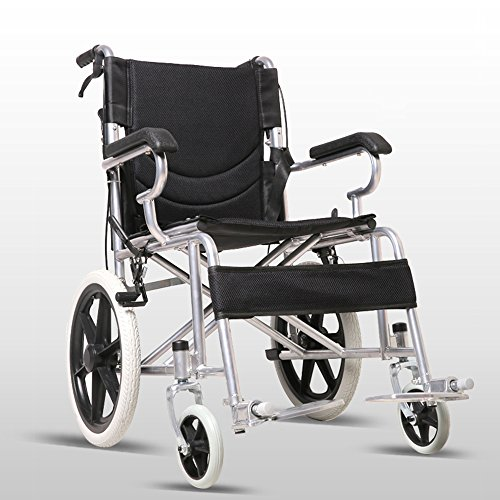 LYYYL Wheelchair Lightweight Folding Portable Transport Chair with Bags Solid...